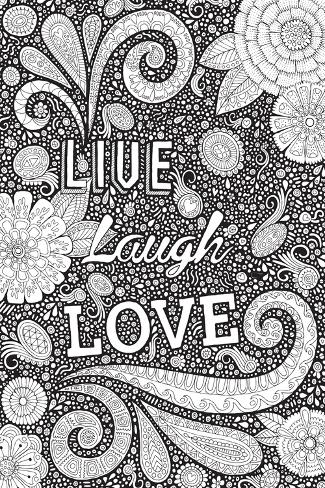 Live Laugh Love Black-Hello Angel-Stretched Canvas Print
