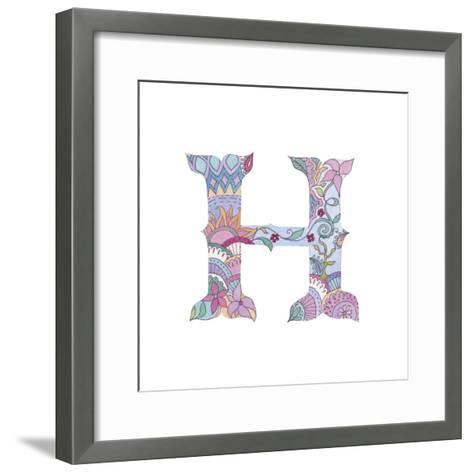 H-Green Girl-Framed Art Print