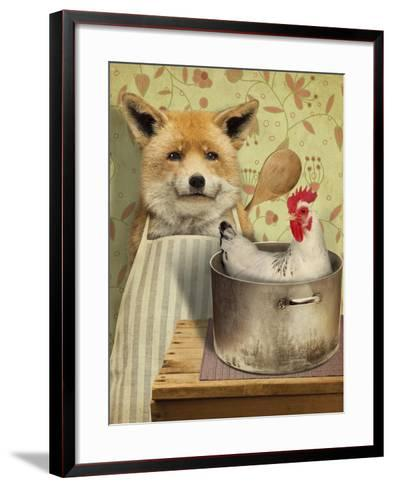 Fox and Chicken-J Hovenstine Studios-Framed Art Print