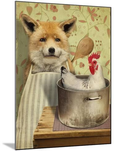 Fox and Chicken-J Hovenstine Studios-Mounted Giclee Print