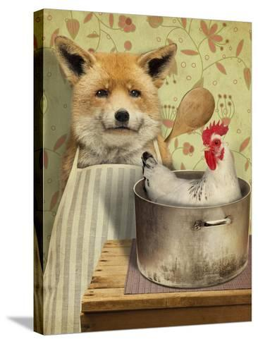 Fox and Chicken-J Hovenstine Studios-Stretched Canvas Print