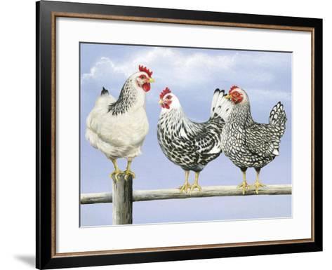 Three Black and White Hens-Janet Pidoux-Framed Art Print