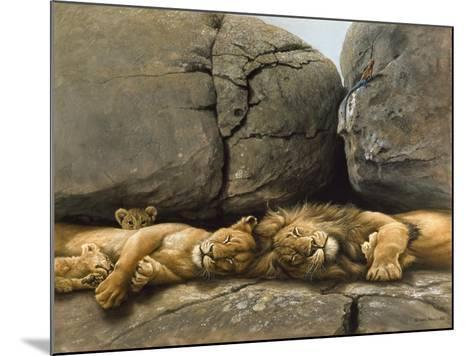 Two Lions Head to Head-Harro Maass-Mounted Giclee Print