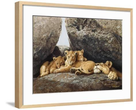 Lioness with Cubs-Harro Maass-Framed Art Print