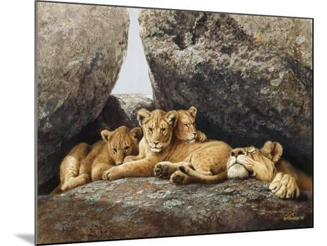 Lioness with Cubs-Harro Maass-Mounted Giclee Print