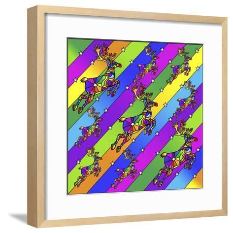 Pop Art Reindeer-Howie Green-Framed Art Print