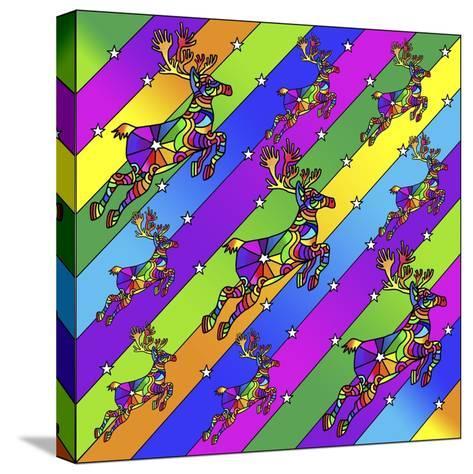 Pop Art Reindeer-Howie Green-Stretched Canvas Print