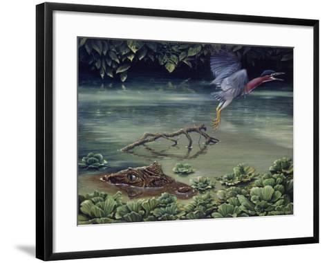 Caiman and Green-Backed Heron-Harro Maass-Framed Art Print