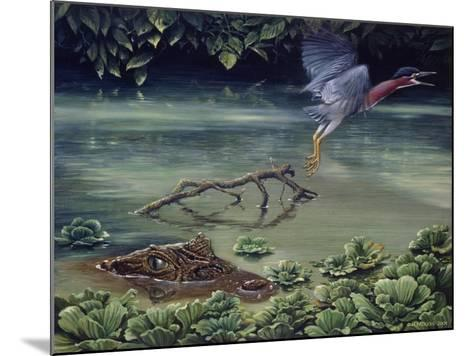 Caiman and Green-Backed Heron-Harro Maass-Mounted Giclee Print