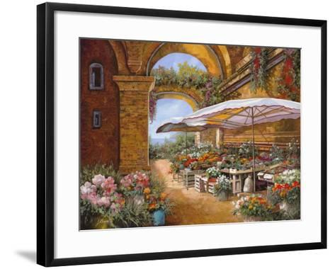 Il Mercato Sotto i Portici-Guido Borelli-Framed Art Print