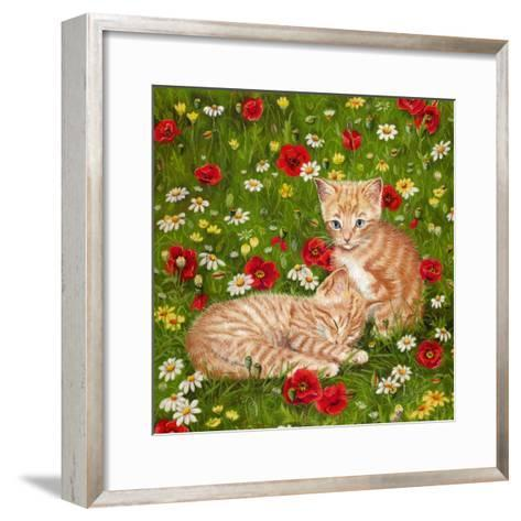 Ginger Kittens in Red Poppies-Janet Pidoux-Framed Art Print