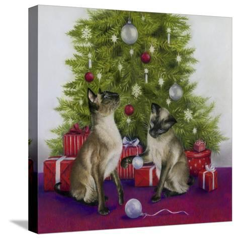 Christmas Siamese Cats-Janet Pidoux-Stretched Canvas Print
