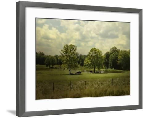 Cattle Pond in Summer-Jai Johnson-Framed Art Print