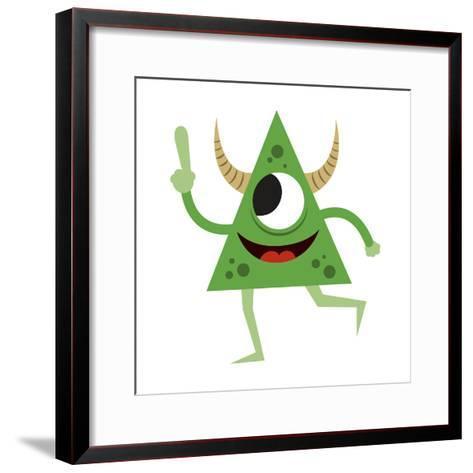 Cute Green Monster-Jimmy Messer-Framed Art Print