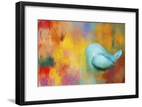 Abstract Bluebird of Happiness-Jai Johnson-Framed Art Print