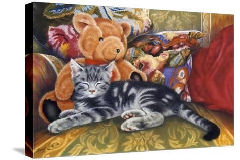 Kitten, Teddy and Cushions-Janet Pidoux-Stretched Canvas Print
