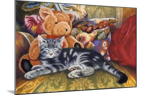 Kitten, Teddy and Cushions-Janet Pidoux-Mounted Giclee Print