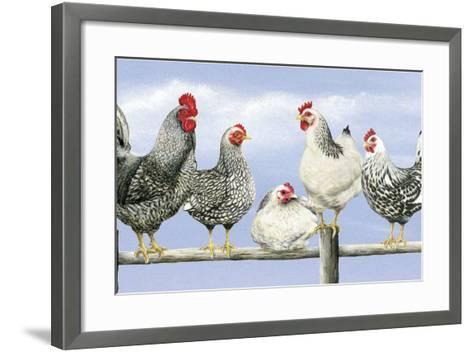 Black and White Hens 1-Janet Pidoux-Framed Art Print