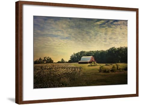 Red Barn at the Cotton Field-Jai Johnson-Framed Art Print