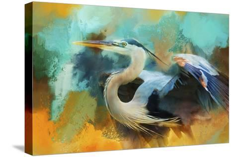 Colorful Expressions Heron-Jai Johnson-Stretched Canvas Print