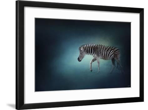 Zebra in the Moonlight-Jai Johnson-Framed Art Print