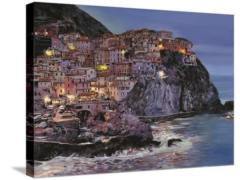 Manarola at Dusk-Guido Borelli-Stretched Canvas Print