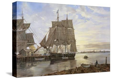 Ships in the Harbor-Jack Wemp-Stretched Canvas Print