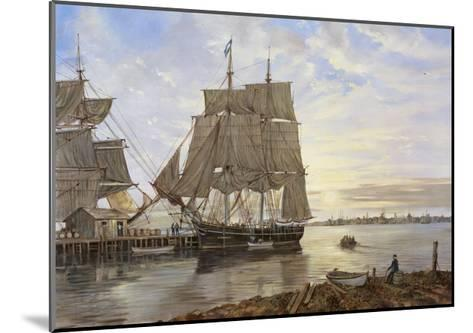 Ships in the Harbor-Jack Wemp-Mounted Giclee Print