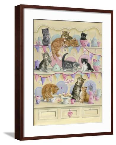 Kittens on Dresser-Janet Pidoux-Framed Art Print