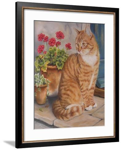 Ginger Cat on Doorstep-Janet Pidoux-Framed Art Print
