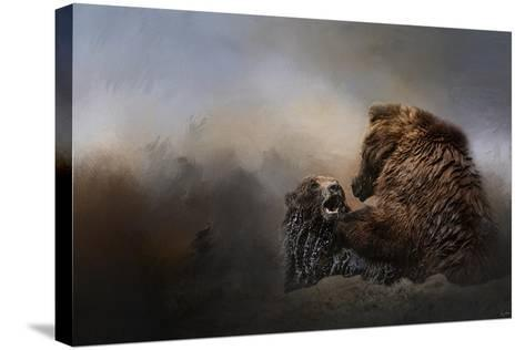Grizzlies in the Water-Jai Johnson-Stretched Canvas Print
