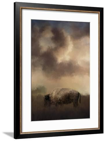 Bison Grazing at Sunrise-Jai Johnson-Framed Art Print