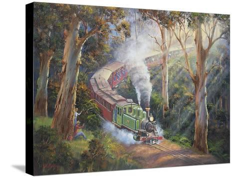 Puffing Billy in Sherbrook Forest-John Bradley-Stretched Canvas Print