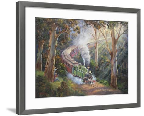 Puffing Billy in Sherbrook Forest-John Bradley-Framed Art Print