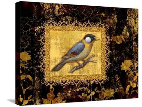 Bird on Black Background-Maria Rytova-Stretched Canvas Print