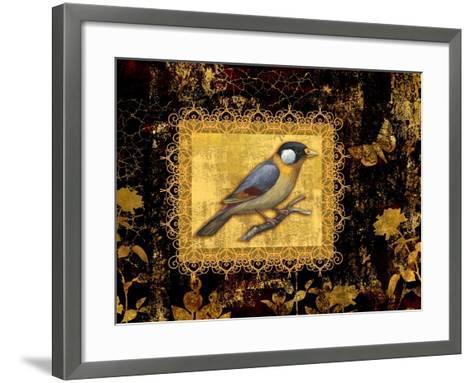 Bird on Black Background-Maria Rytova-Framed Art Print