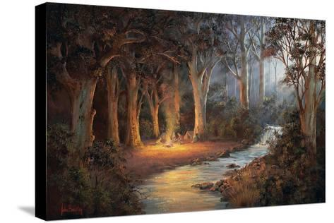 Firelight and Moonrise-John Bradley-Stretched Canvas Print