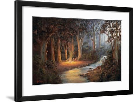 Firelight and Moonrise-John Bradley-Framed Art Print