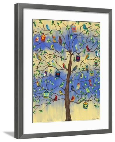 Bird and Bird Houses on Tree-Kerri Ambrosino-Framed Art Print
