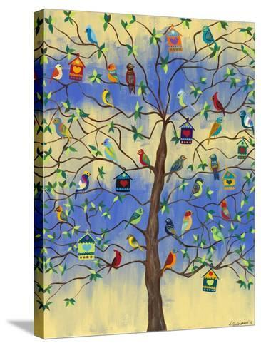 Bird and Bird Houses on Tree-Kerri Ambrosino-Stretched Canvas Print