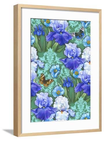 Irises (Pattern)-Maria Rytova-Framed Art Print
