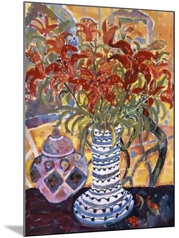 Orange Flowers in Blue and White Vase on a Table Next to a Jug-Lorraine Platt-Mounted Giclee Print