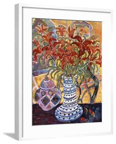 Orange Flowers in Blue and White Vase on a Table Next to a Jug-Lorraine Platt-Framed Art Print