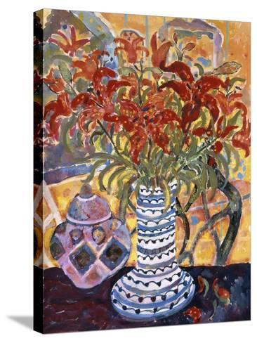 Orange Flowers in Blue and White Vase on a Table Next to a Jug-Lorraine Platt-Stretched Canvas Print