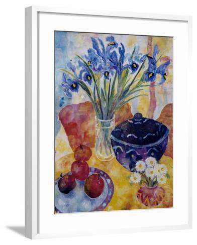 Irises and Dish of Apples-Lorraine Platt-Framed Art Print