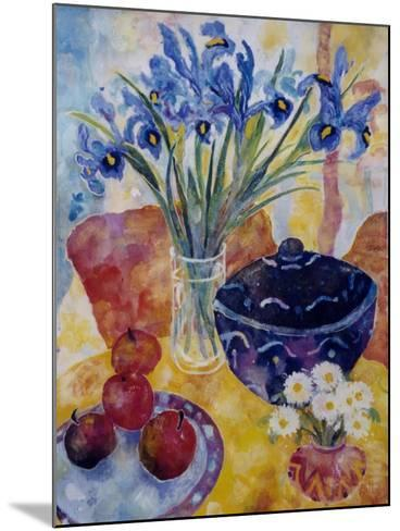Irises and Dish of Apples-Lorraine Platt-Mounted Giclee Print