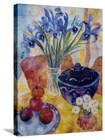 Irises and Dish of Apples-Lorraine Platt-Stretched Canvas Print