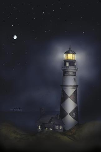 Lighthouse 01B-Maria Trad-Stretched Canvas Print
