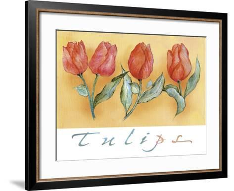 A Watercolor of Four Red Tulips-Maria Trad-Framed Art Print