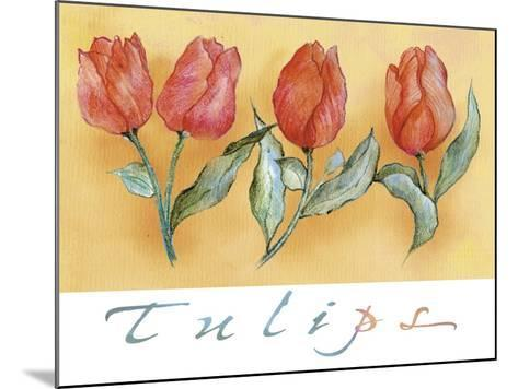 A Watercolor of Four Red Tulips-Maria Trad-Mounted Giclee Print